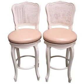 Pair 2 french country cane back bar stools pink naugahyde