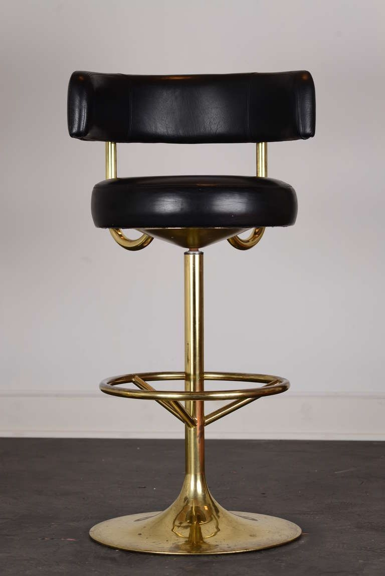 Pair Of Vintage Swivel Brass Bar Stools