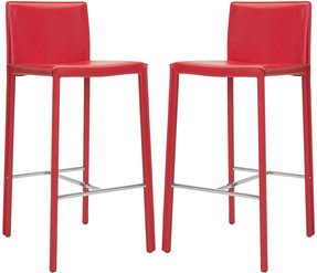 Safavieh park ave 30 inch red leather bar stools set