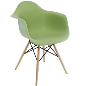 2xhome - Green Plastic Armchair with Wood Eiffel Legs Woodleg Dinning Chair Eames Style Molded Plastic Dowel-leg Chair (Daw) Natural Legs