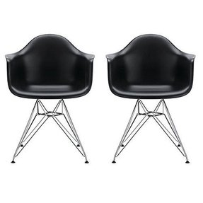 2xhome -Set of 2, Black, Plastic Armchair with Eiffel Legs Dinning Chair Eames Style Molded Plastic Wire Chair Base (DAR) Legs