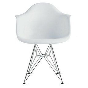 2xhome - White Plastic Armchair with Eiffel Legs Dinning Chair Eames Style Molded Plastic Wire Chair Base (DAR) Legs
