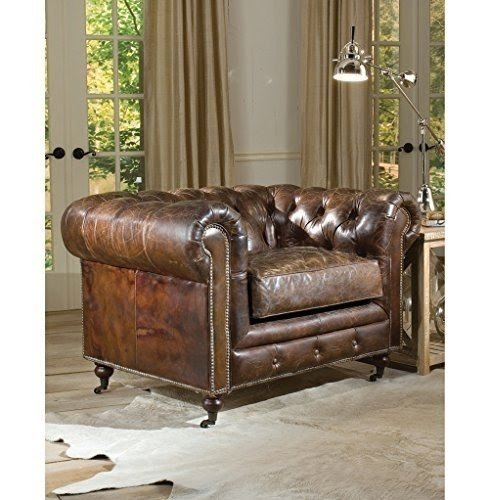 Lovely Ace Hollywood Regency Brown Leather Tufted Deep Seat Armchair