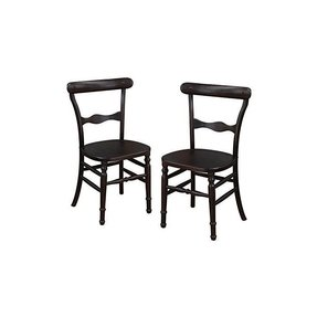 Adeco Dark Brown Elmwood Dining Chair with Early American Style Leg and Curved Horizontal Fiddle Back (Set of 2)