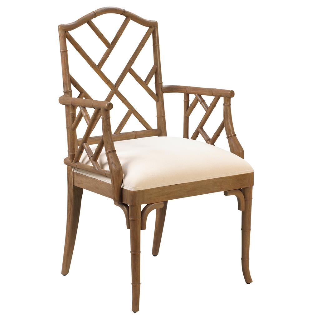 Chinese Chippendale Hollywood Regency Brown Bamboo Dining Arm Chair