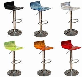 Crystal transparent acrylic breakfast bar stools available in 10 colours