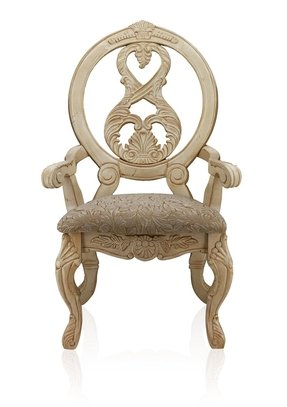 Furniture of America Victoire French Style Arm Chair, Antique White, Set of 2