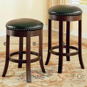 Leather backless counter stools 1