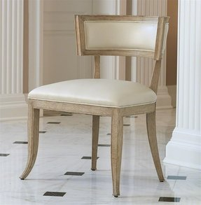 Minnelli Hollywood Regency Ivory Leather Dining Chair