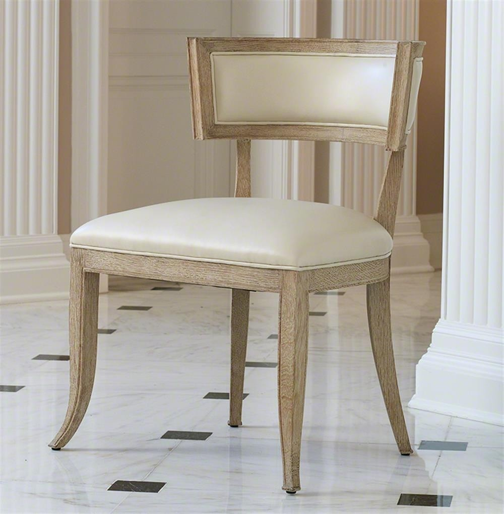 Nice Minnelli Hollywood Regency Ivory Leather Dining Chair