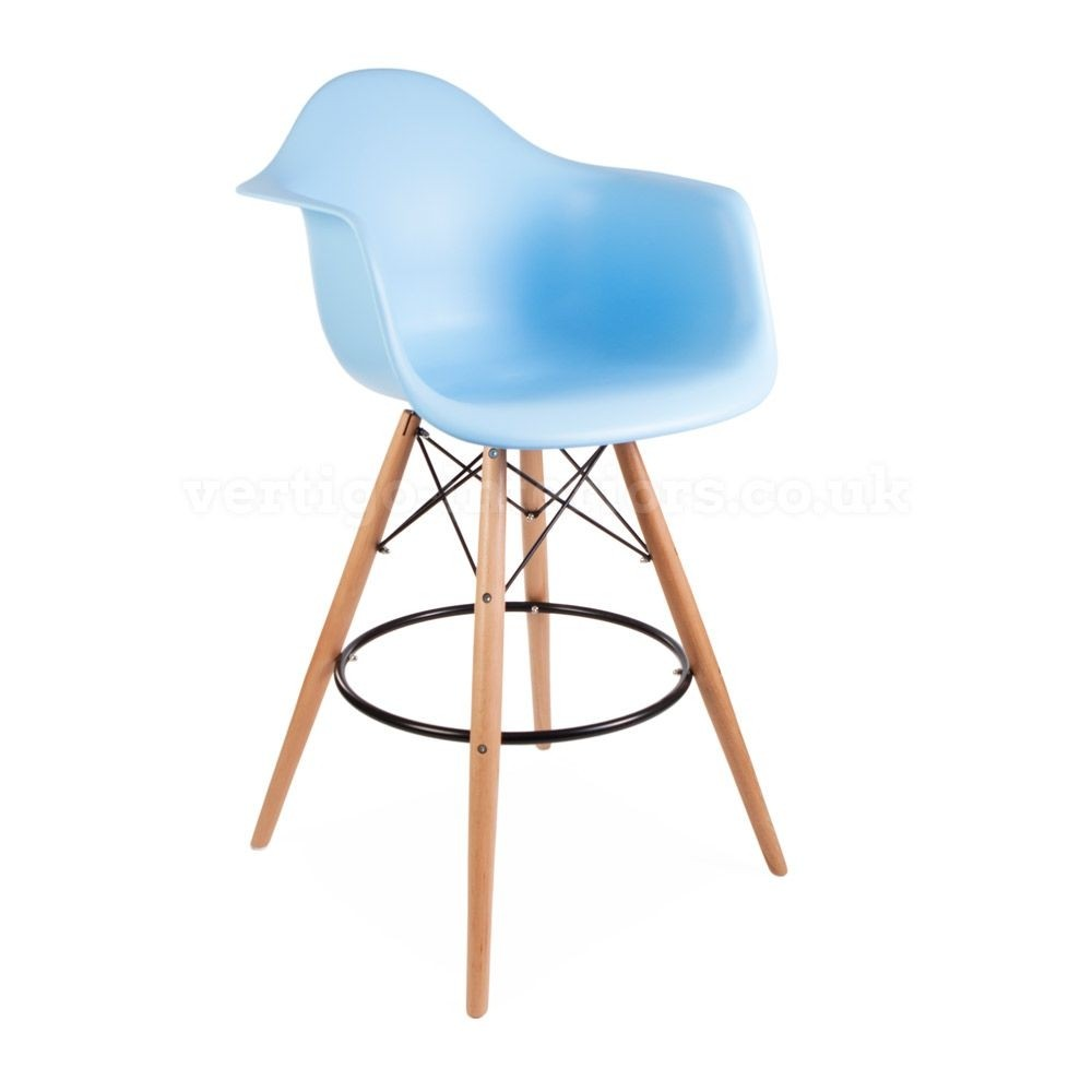 ModHaus Mid Century Modern Eames DAW Style Blue Counter Stool Chair With  Dowel Wood Base