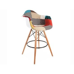 ModHaus Mid Century Modern Eames DAW Style Fabric Upholstered Counter Stool Chair with Dowel Wood Base