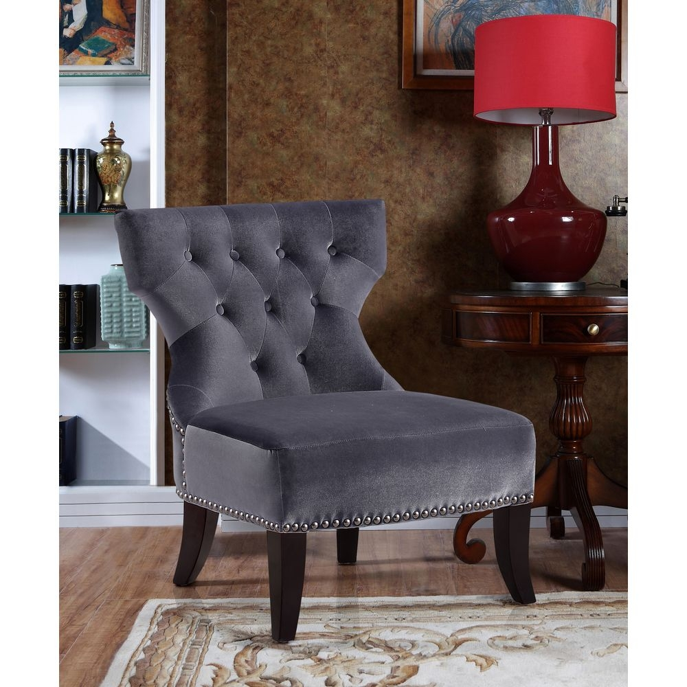 Simpli Home Kitchener Tufted Accent Chair, Grey