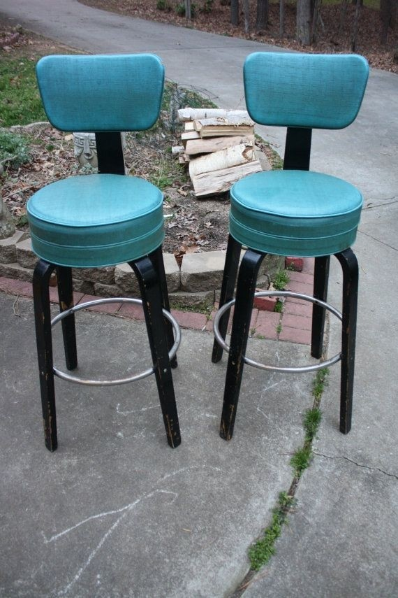 Teal blue and black thonet art deco