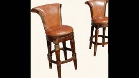 Western leather bar stools 1