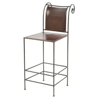 William sheppee 26 pub leather and iron counter stool 1
