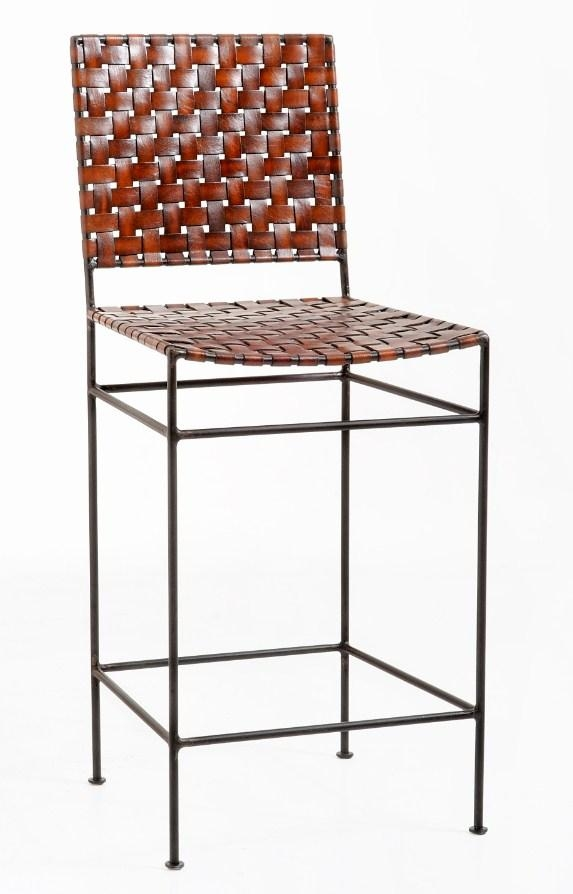 William Sheppee Saddler 26 Iron And Woven Leather Counter Stool