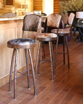 Wrought Iron Leather Bar Stools 1
