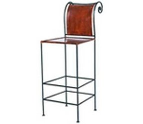 Wrought iron leather bar stools 2