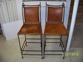 Wrought Iron Leather Bar Stools