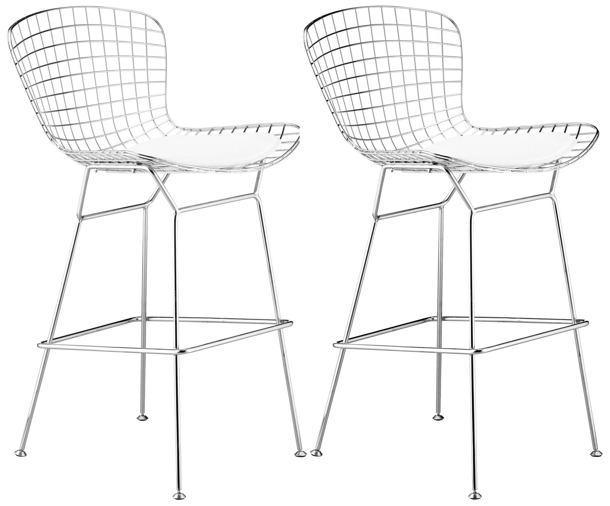 Bertoia Wire Counter Stool Chrome Finish With White Pad Contemporary Bar Stools And Counter Stools