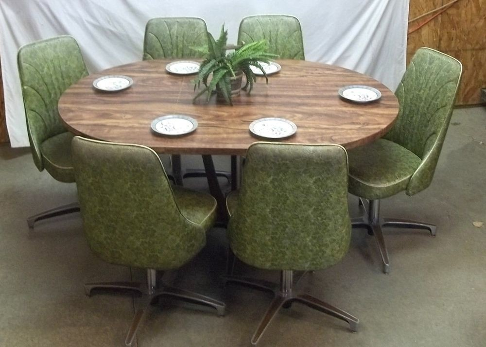 Chromcraft Table 6 Chairs Mid Century 60s 70s Green Dining
