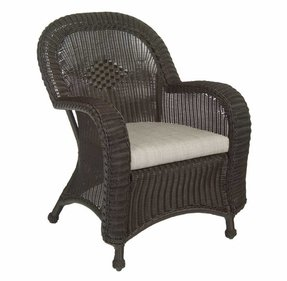 Classic Wicker Dining Arm Chair With Cushion