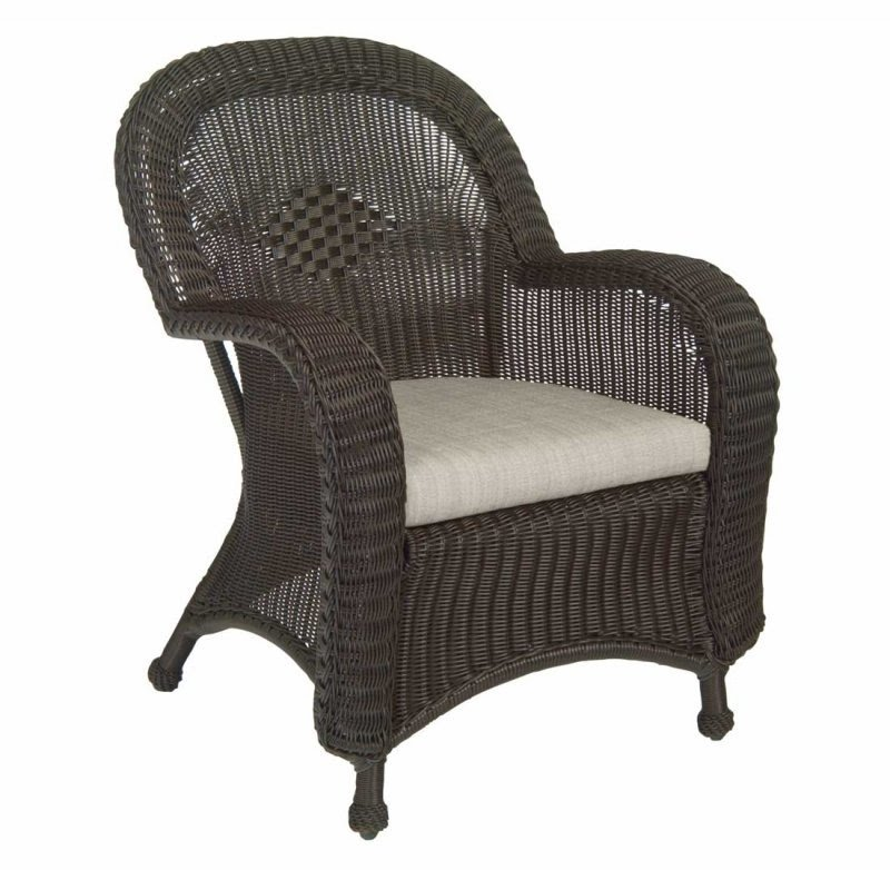 Classic Wicker Dining Arm Chair With Cushion   Arbor Gray, Weathered Gray    Frontgate,