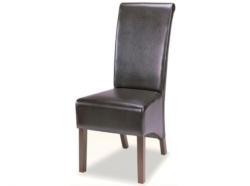 Merveilleux Coaster Bycast Vinyl Rolled Back Parson Dining Chair In Chocolate