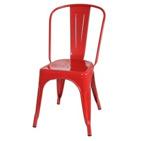 Design Tree Home French Style Cafe Chair, Red Galvanized Steel