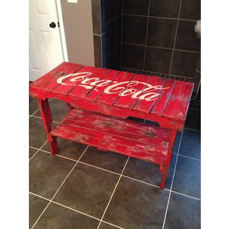 Distressed coca cola table made of
