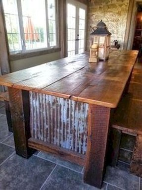 Farmhouse barnwood table with benches rustic dining tables st louis
