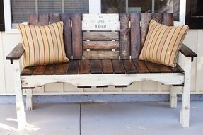 Farmhouse reclaimed wood bench with