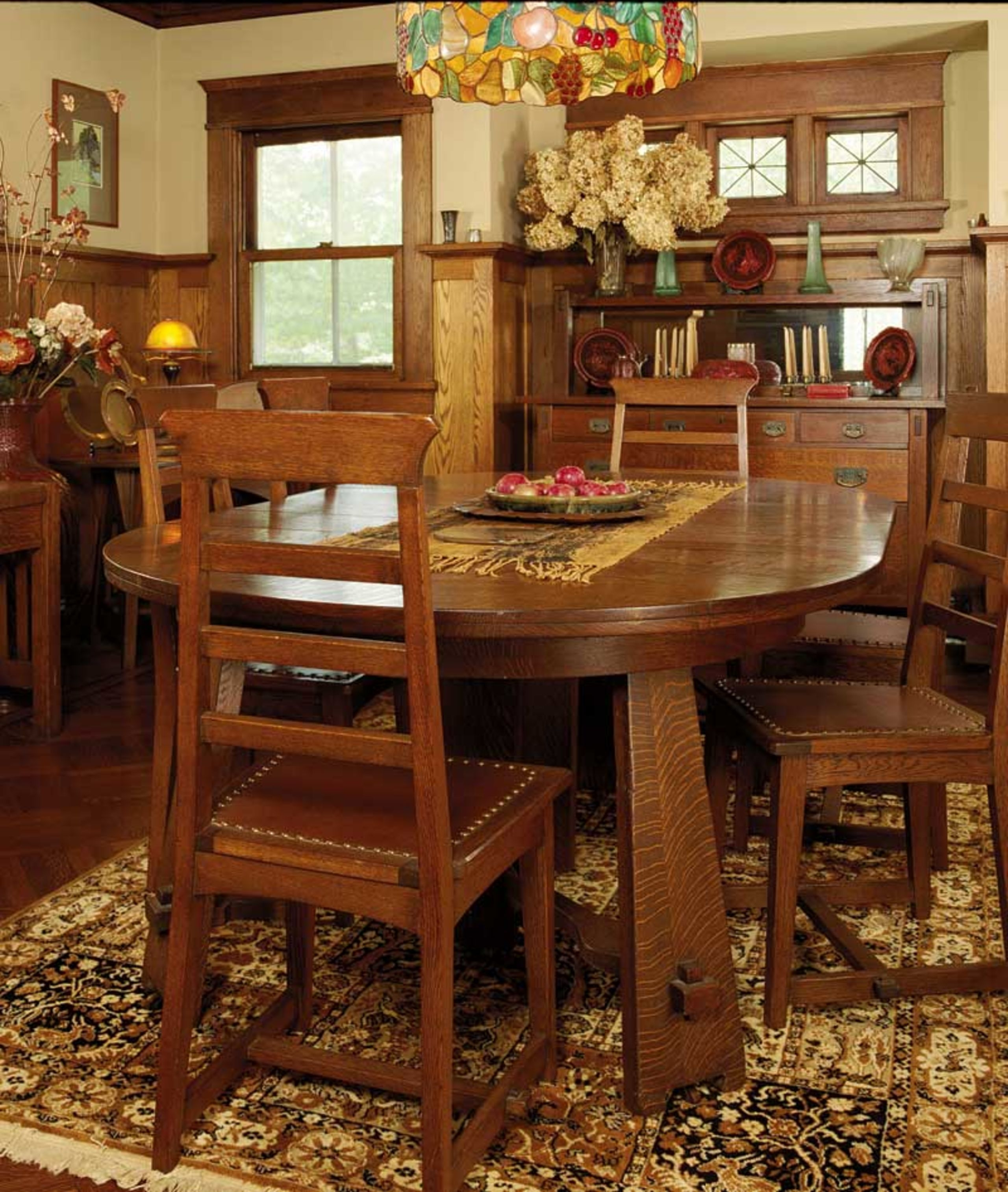 Bon Mission Style Dining Table And Chairs