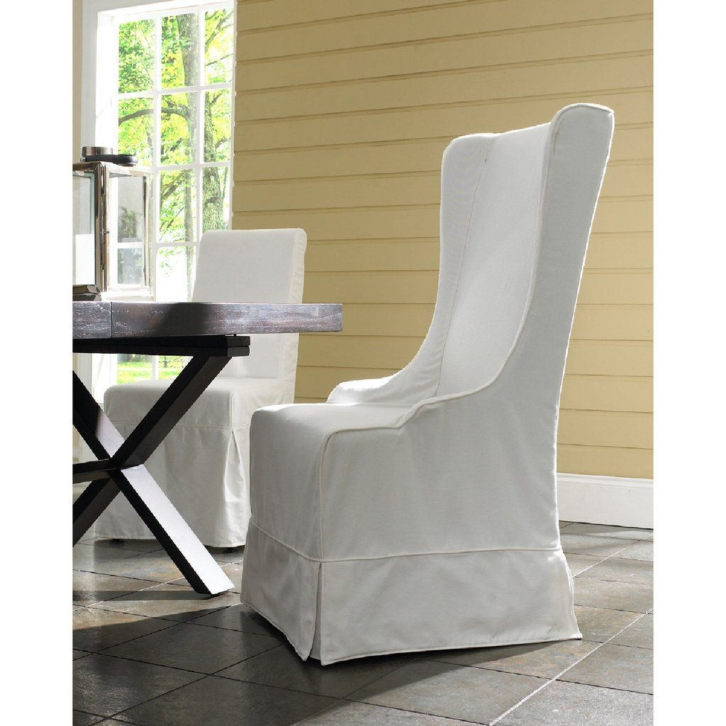 Padmau0027s Plantataion Atlantic Beach Wing Dining Chair, Sunbleached White  Linen