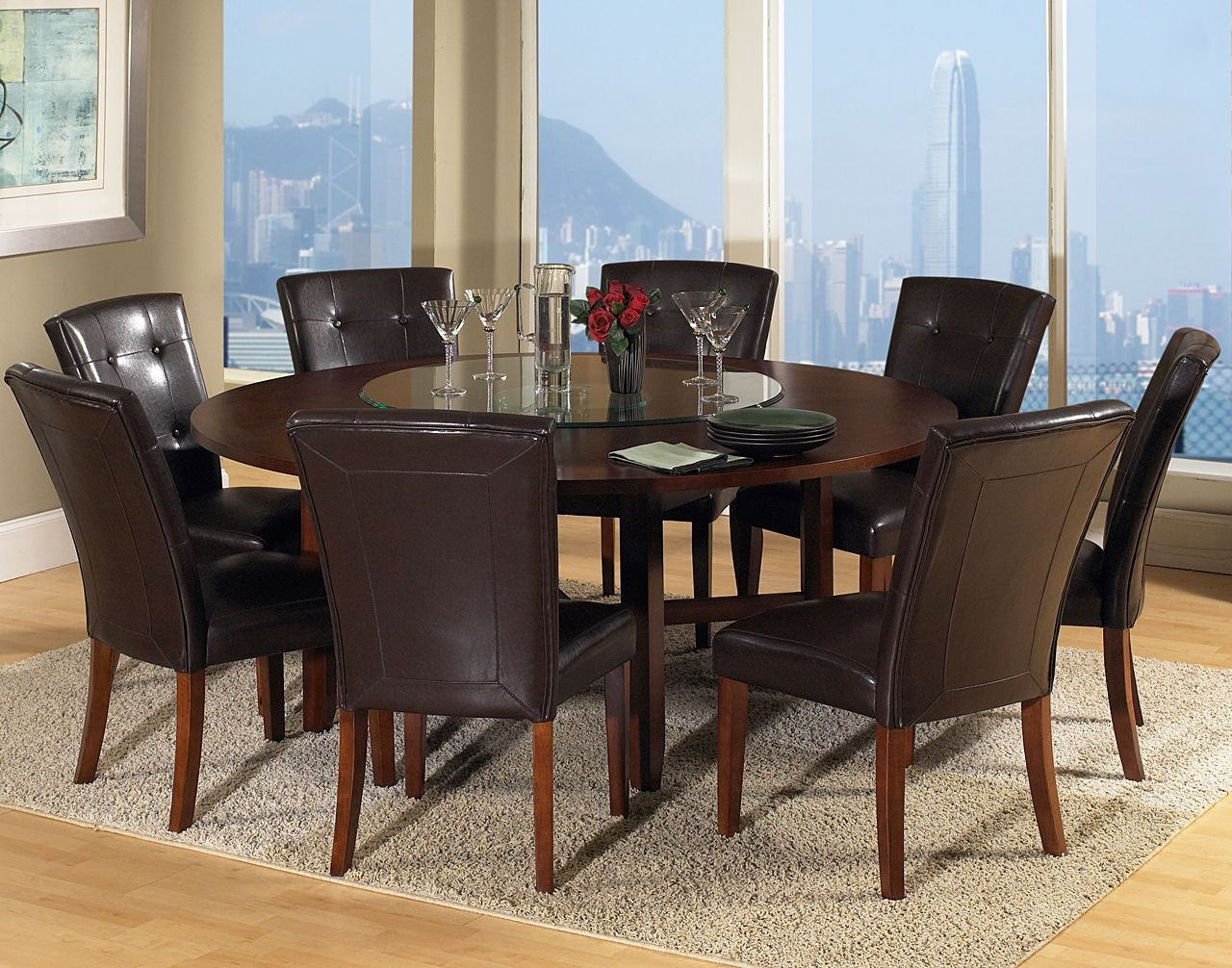 Charming Round Dining Table For 8 People