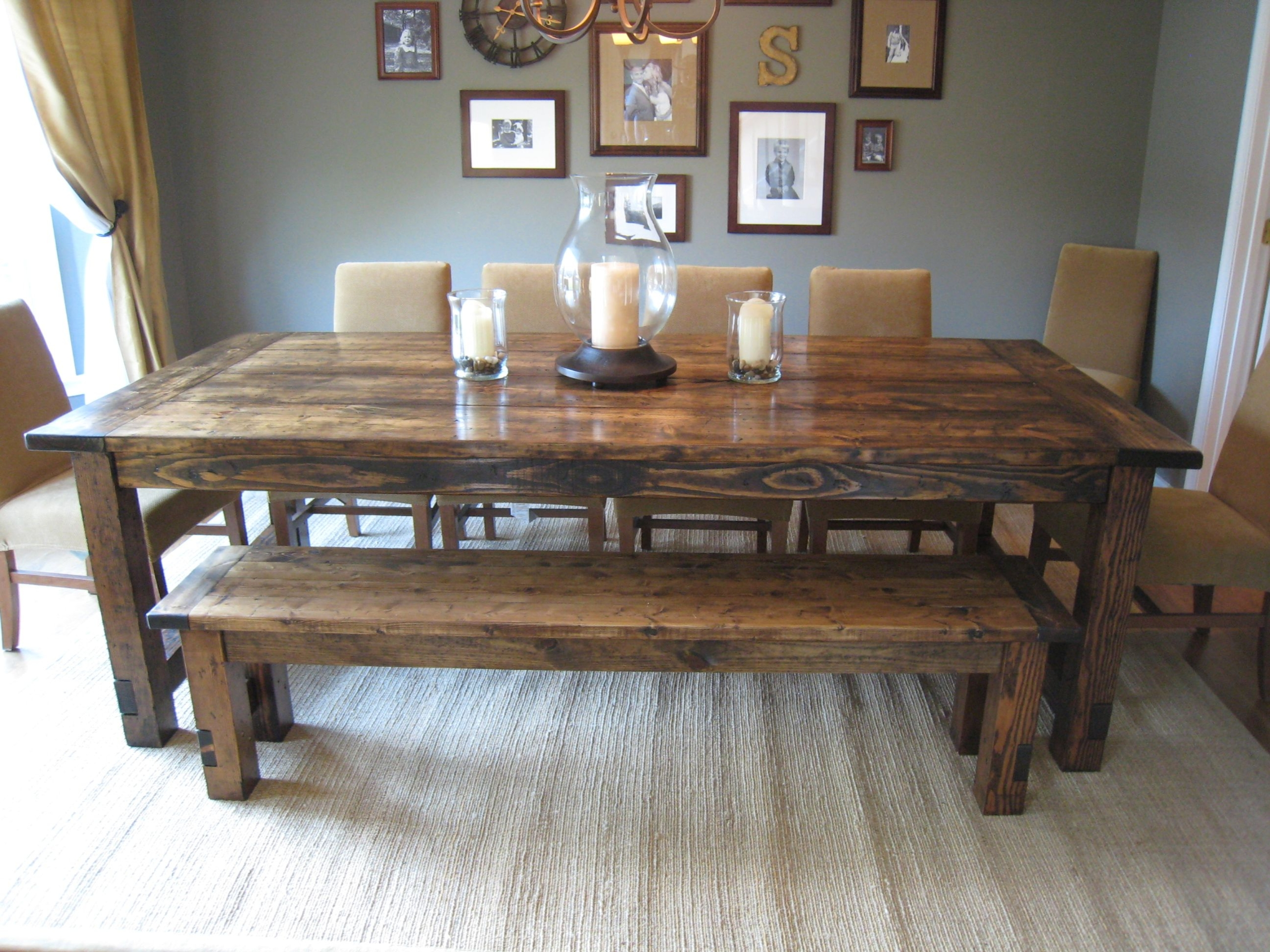 Groovy Farmhouse Dining Table With Bench Ideas On Foter Home Interior And Landscaping Ponolsignezvosmurscom