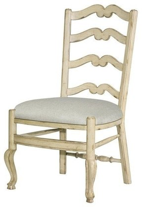 Set 6 New French Provincial Dining Chairs White/Cream Wood Ladderback Fabric