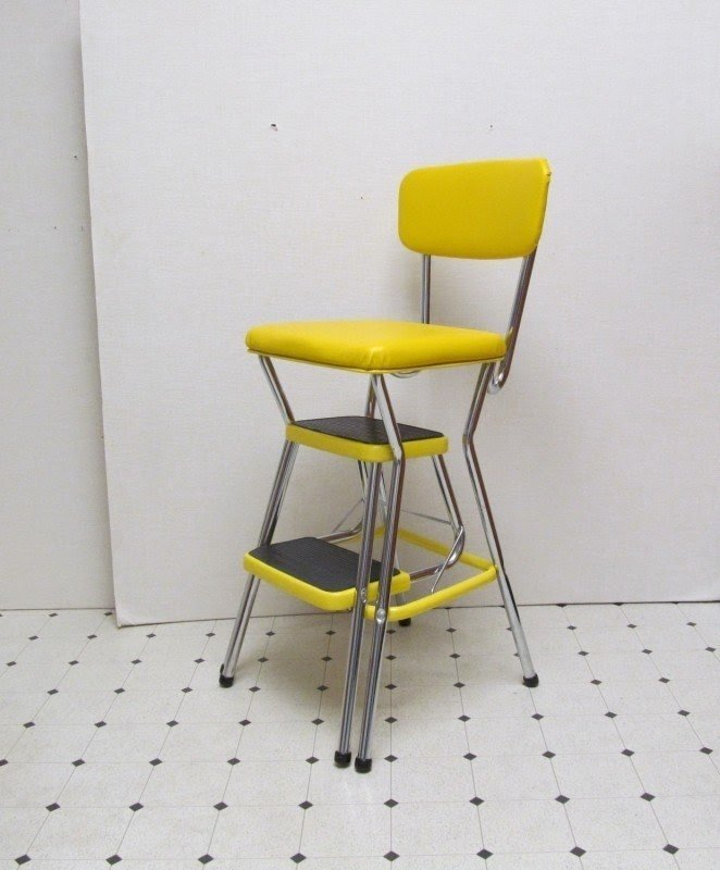 Vintage Cosco Kitchen Stool Step Ladder Yellow And Chrome