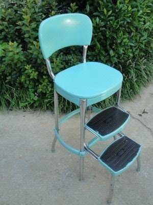 Vtg 1950s pastel turquoise cosco kitchen step stool chrome retro