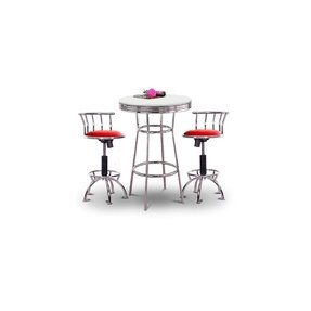 "36"" Tall Chrome Bar Table & 2 Adjustable 24""-29"" Burgundy Vinyl Seat Barstools"