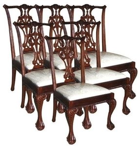 6 New Side Chairs Mahogany Carved Back Rope Trim Ball & Claw White Fabric