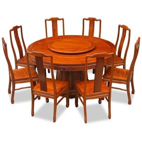 60in Rosewood Round Dining Table with 8 Chairs - Chinese Longevity Design - Natural