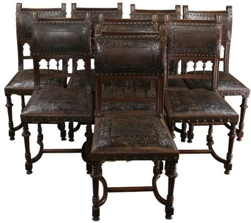 8 Antique Dining Chairs 1890 French Renaissance Carved Walnut Embossed  Leather