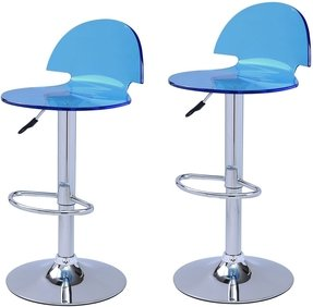 Adeco Blue Acrylic Hydraulic Lift Adjustable Barstool Chair Chrome Finish Pedestal Base (Set of two)