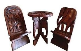 African Solid Wood Hand Carved Table And Chair Set