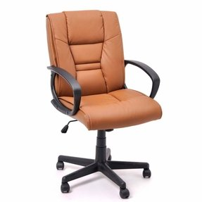 ALASTAIR Comfortable Mid-Back Leather Office Chair,Excutive Chair In Light Brown