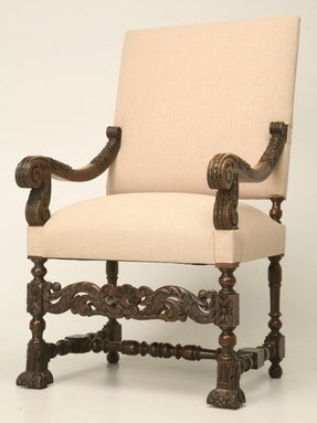 Antique French Walnut Throne Chair