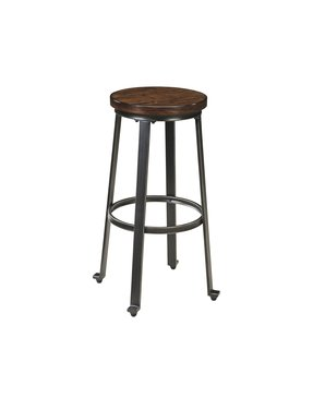 Ashley Furniture Signature Design Challiman Tall Stool, Rustic Brown, Set of 2