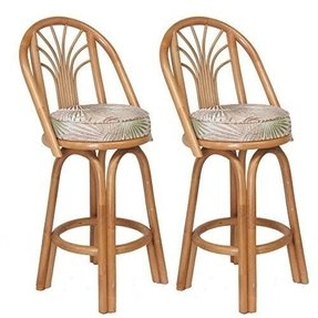 "Assembled in USA Premium Rattan Sundance Bar & Counter Stools (Set of 2) (26"" (Counter Height))"